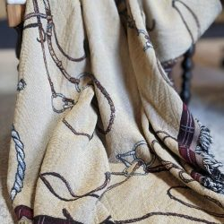 lila jacquard horse tack afghan