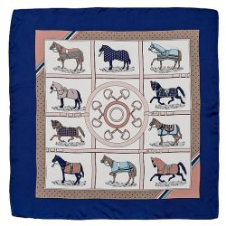 satin square scarf horse blankets navy