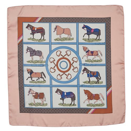 satin square scarf horse blankets pink