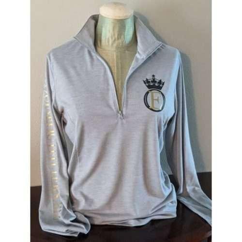equine outfitters llc logo wear long sleeve riding shirt light grey