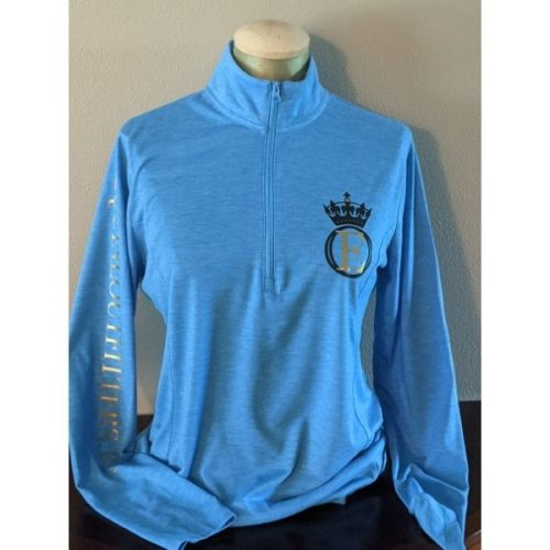 equine outfitters llc logo wear long sleeve riding shirt pond blue